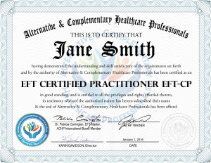 EFT Certification Online from Alternative and Complementary Healthcare Professionals